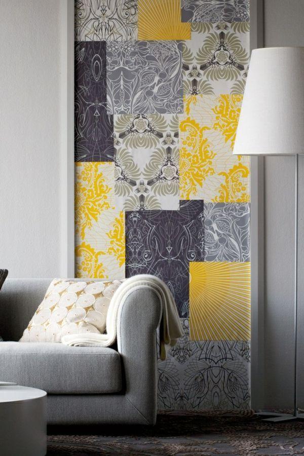 eine gelbe tapete im schlaf- oder wohnzimmer wirkt sehr, Wohnzimmer