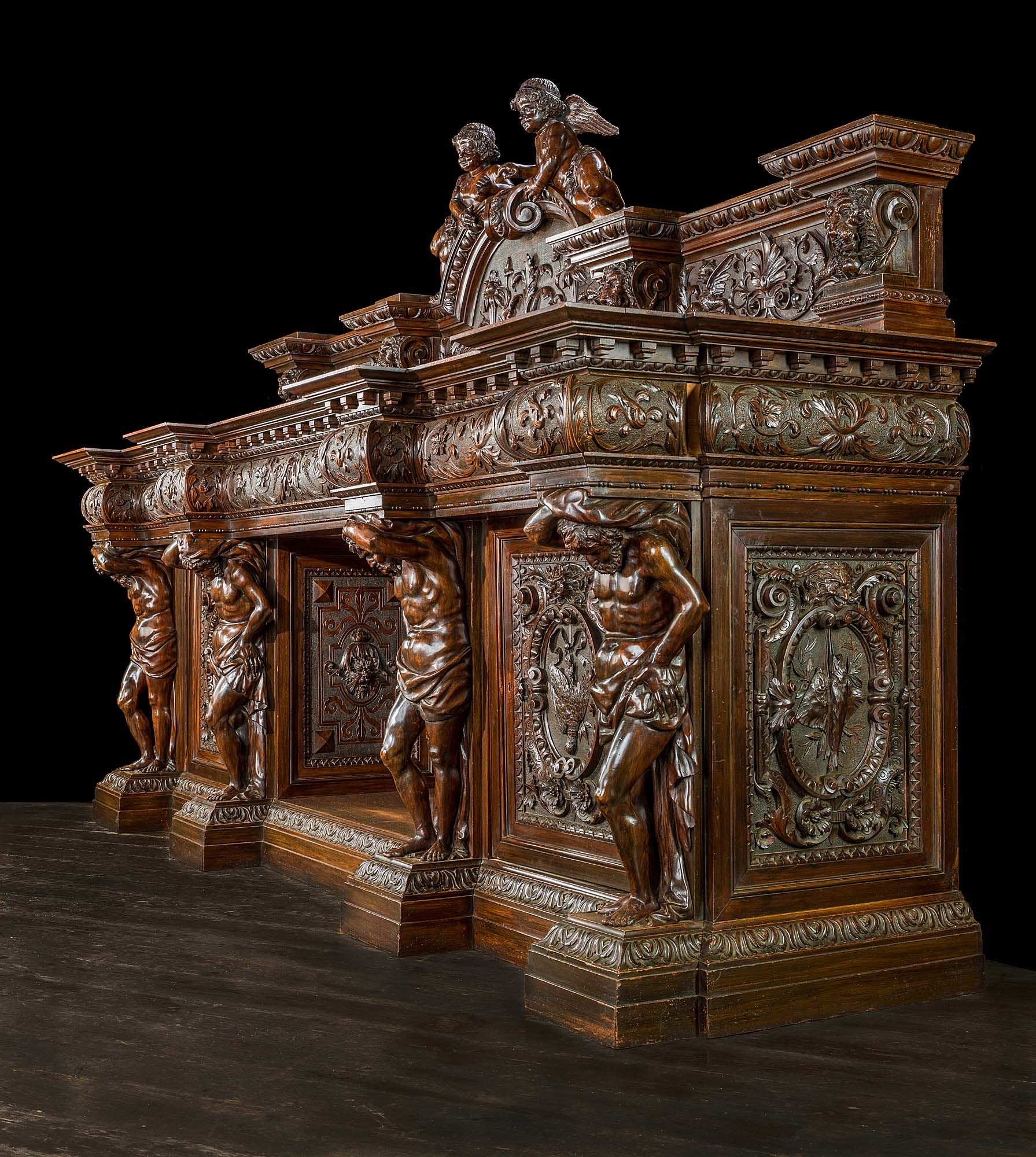 Italian renaissance carved walnut chimneypiece gone