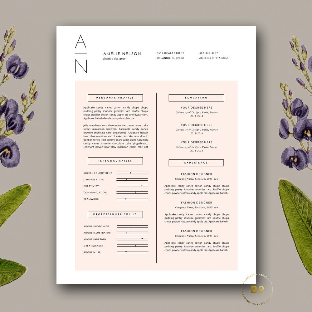 Feminine Resume Template Simple Resume Design For Ms Word Etsy Clean Resume Design Resume Cover Letter Template Cover Letter For Resume