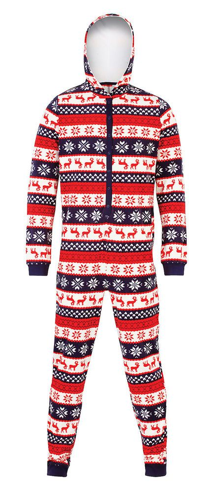 48efcac395  Christmas  Onesie Hooded  FairIsle Knit Hooded Onesie Red and Blue Mens  Womens