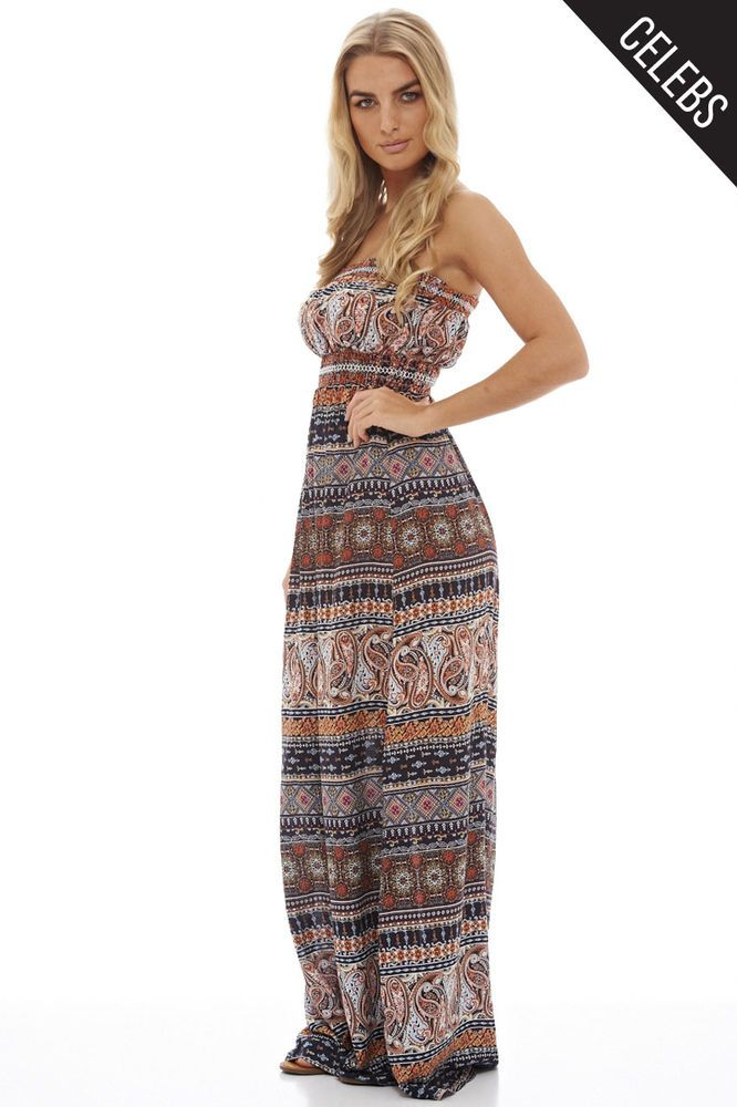 AX Paris Womens Navy Printed Bandeau Maxi Dress Glamorous Stylish Fashion