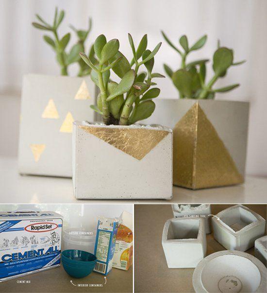 Jard n vertical usando un pal macetas cemento y ideas for Jarrones decorativos para jardin