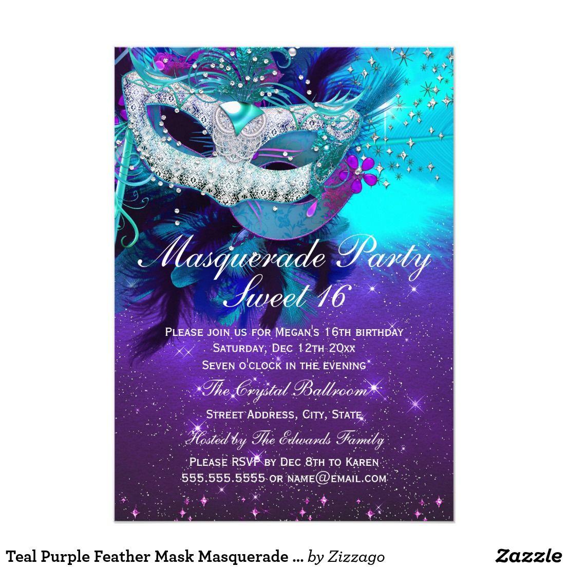 Teal Purple Feather Mask Masquerade Invitation | Purple sweet 16 ...