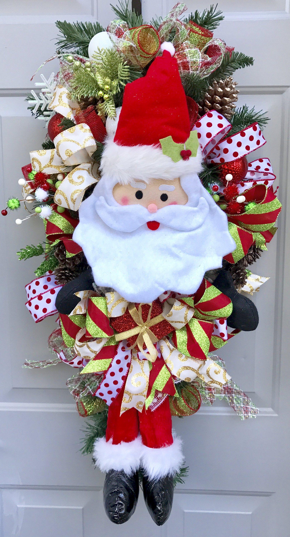 Santa swag christmas wreath christmas swag santa wreath