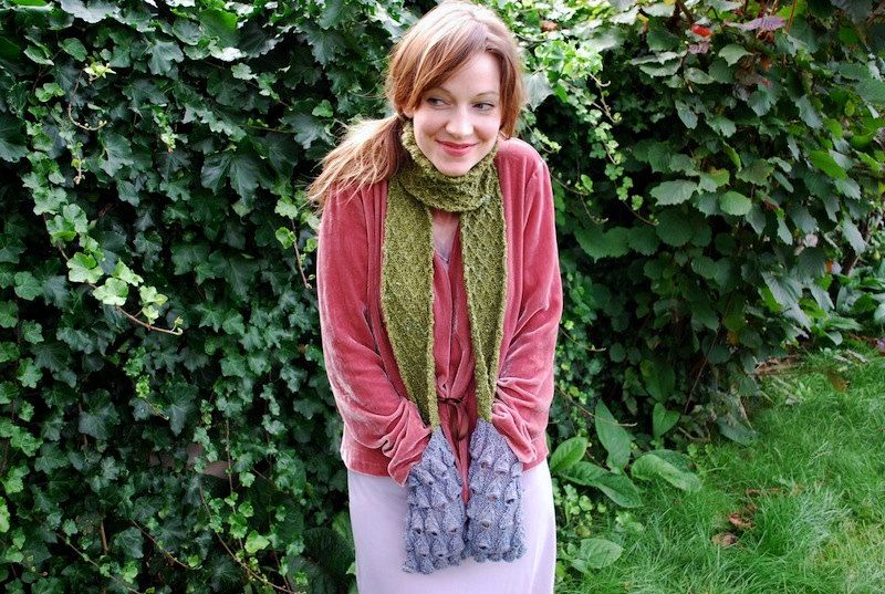 Moss And Bluebell Pocket Scarf Knitting Pattern Knitting