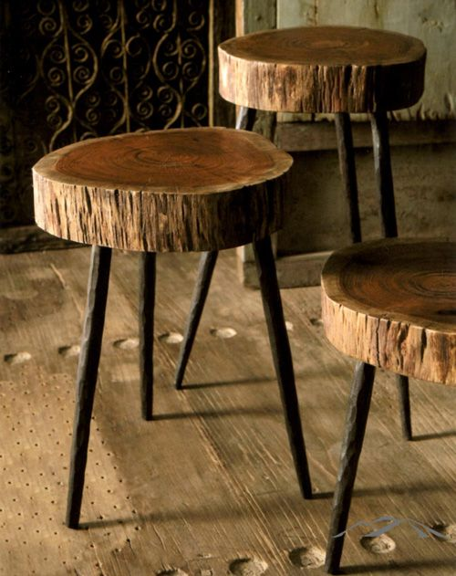 Rustic Stool Made From Acacia Wood Atop Three Sturdy