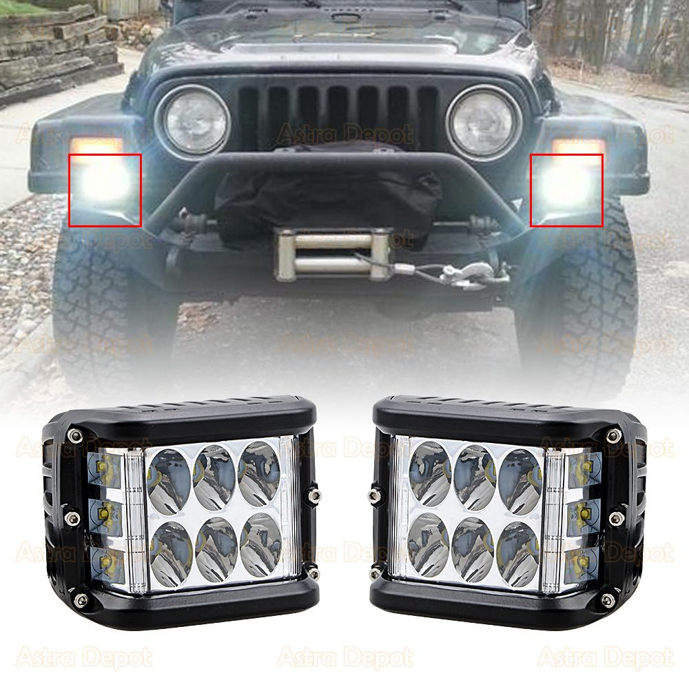 Left Right CREE LED 4000lm Side Shooter Cube Spot Offroad Work ...