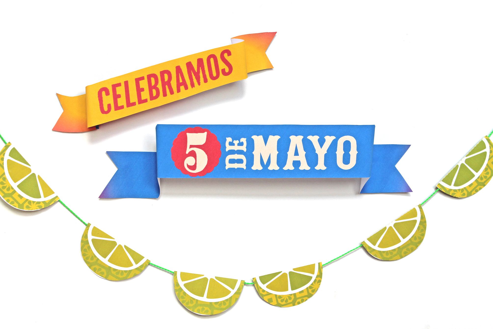 Printable Cinco De Mayo 3d Party Sign And Lime Garland