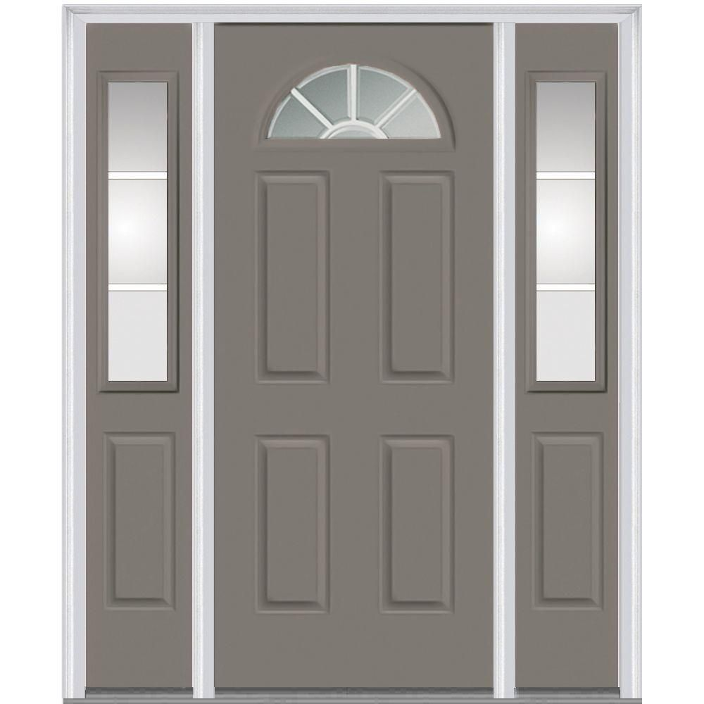 Milliken Millwork 60 In X 80 In Classic Clear Glass Gbg 1 4 Lite 4 Panel Painted Majestic Steel Prehung Front Steel Doors Exterior Painted Front Doors Doors