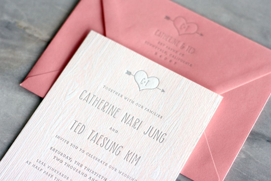Catherine + Ted\'s Modern and Rustic Faux Bois Wedding Invitations ...