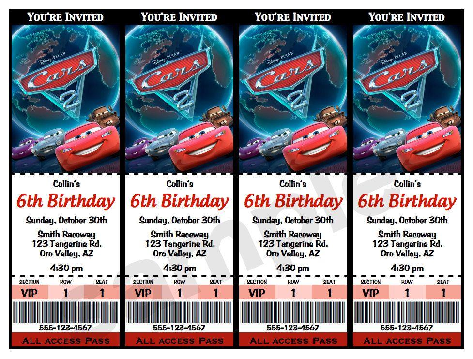 Disney CARS 2 Movie Ticket INVITATIONS - Printable PDF Birthday ...