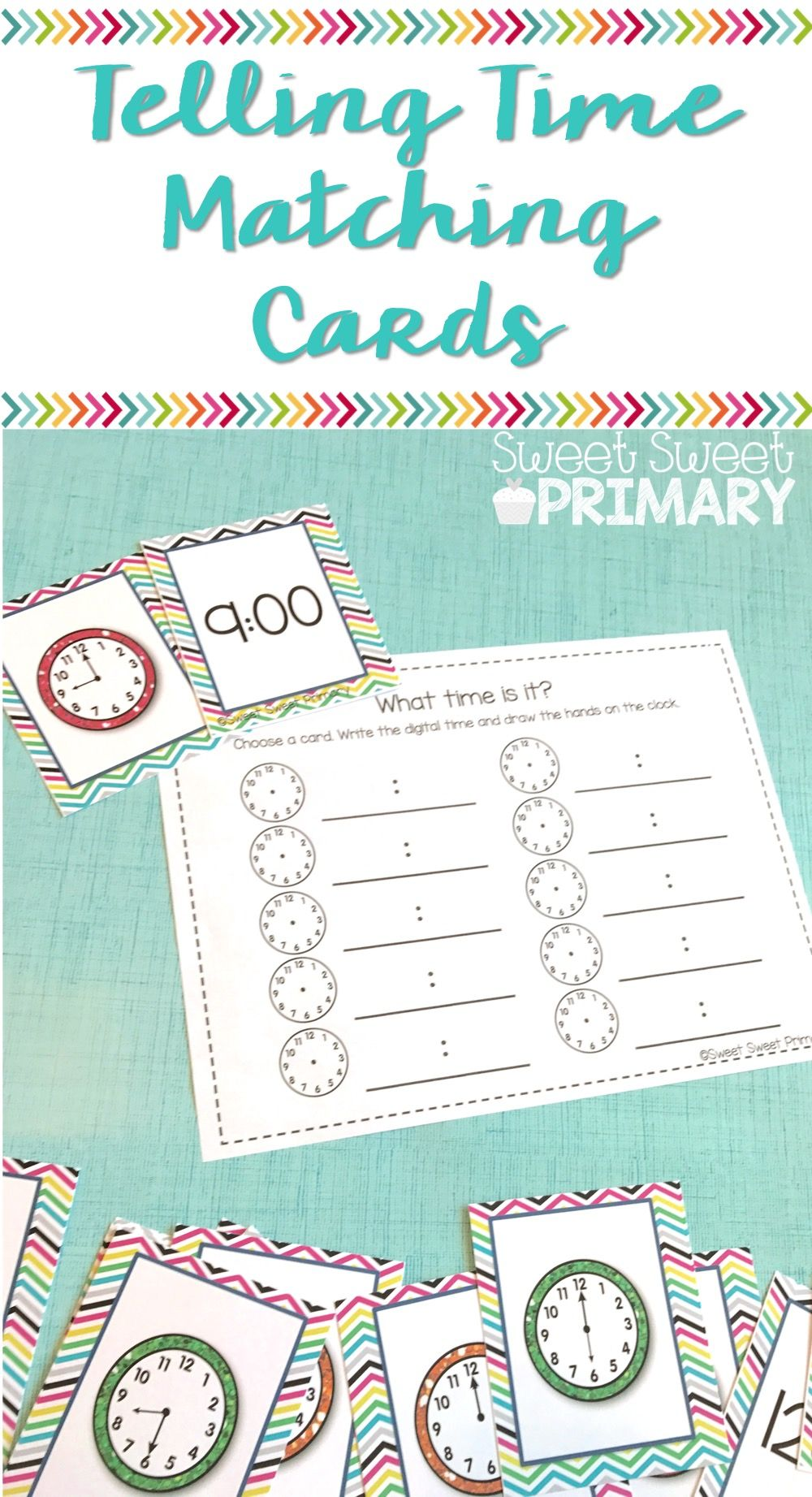 Telling Time Matching Cards | Pre-school, Maths and Activities