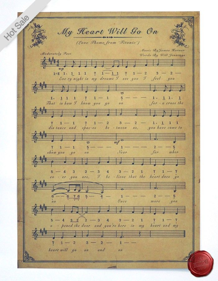 Classic Sheet music Painting Vintage Poster HD Bar/cafe Retro Wall ...