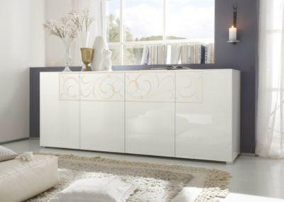 Sideboard Wohnzimmer ~ Sideboard weiss lack silbergoldfarbener glitzersiebdruck jetzt