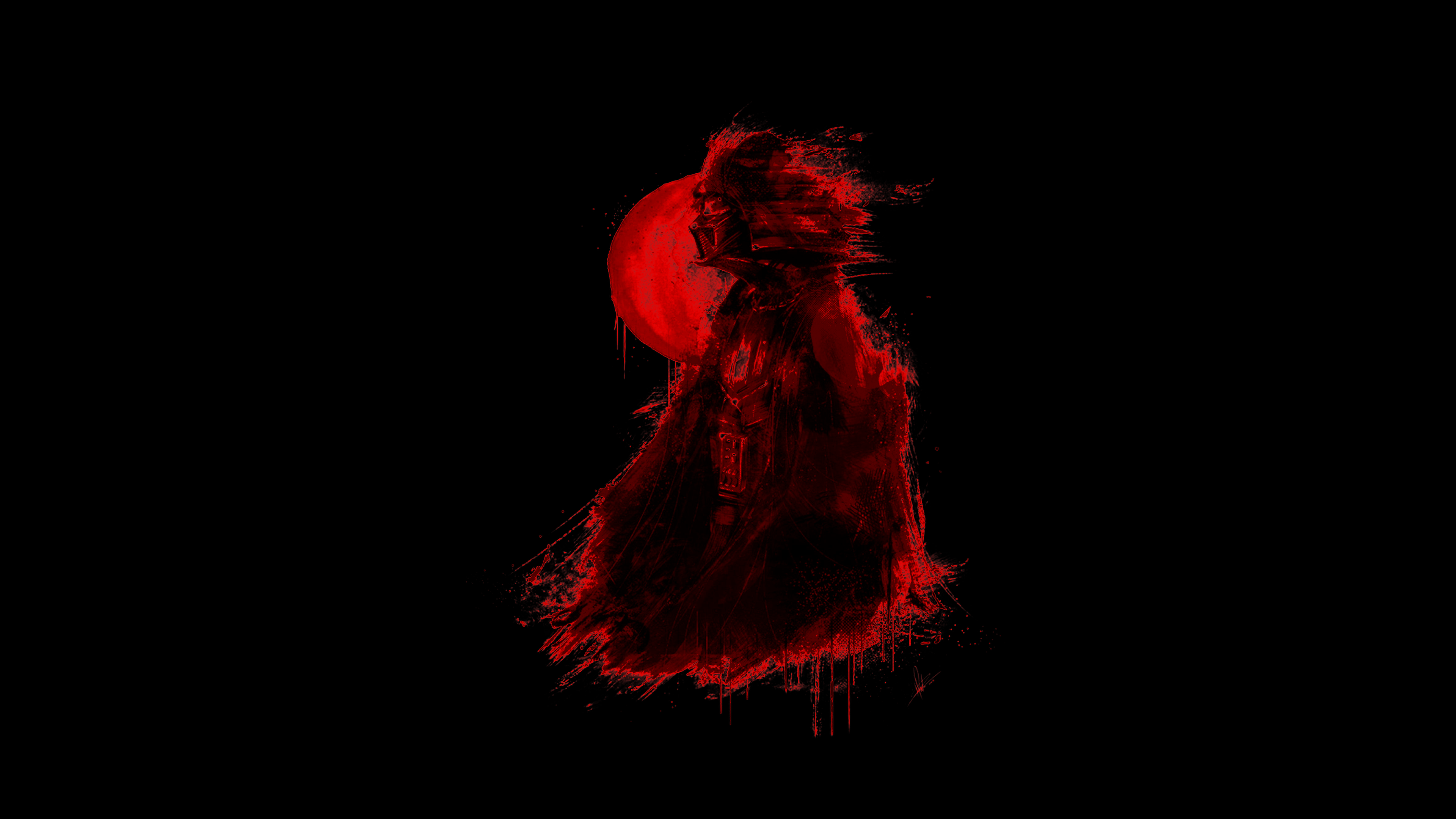 Stylized Red Vader For Black Amoled Screens 3840x2160 Dark Background Wallpaper Joker Iphone Wallpaper Samsung Wallpaper Android