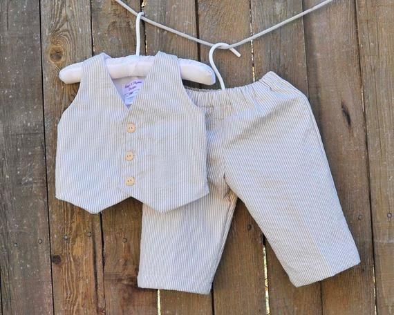 771004e4a1d Baby Boy White Seersucker Suit... Pants