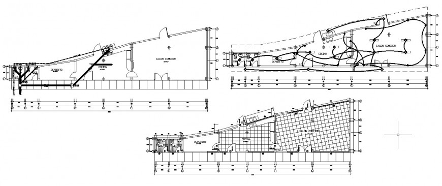 Detail 2d plan of a building with electrical installation