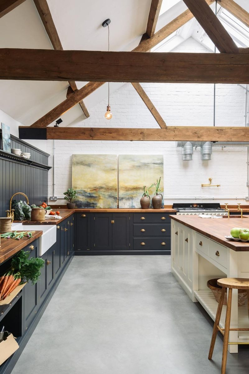 A Modern Shaker Kitchen In An Old Uk Cattle Shed The Style Files With Images Concrete Kitchen Floor Kitchen Remodel Devol Kitchens