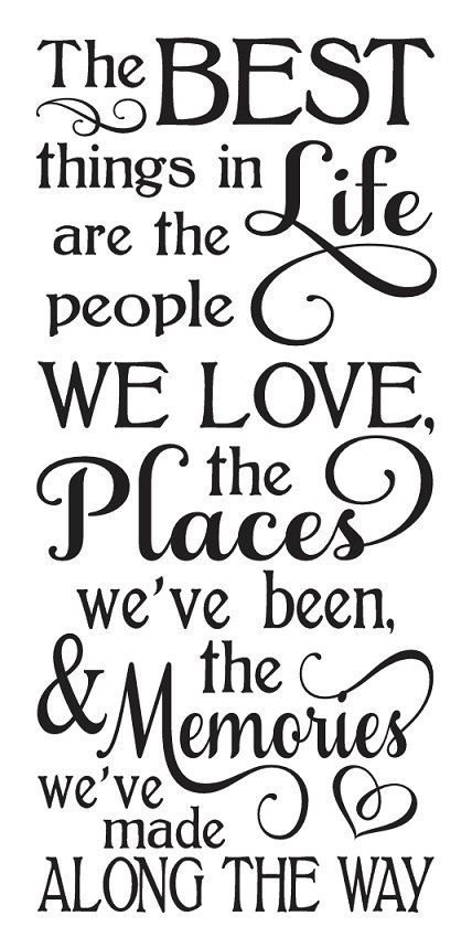 The Best Things STENCIL 60x60 For Painting Signs Wood Fabric Fascinating Family Vacation Quotes