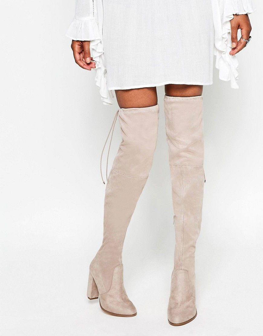 ASOS KASTOR Over The Knee Peep Toe Boots Beige | Products