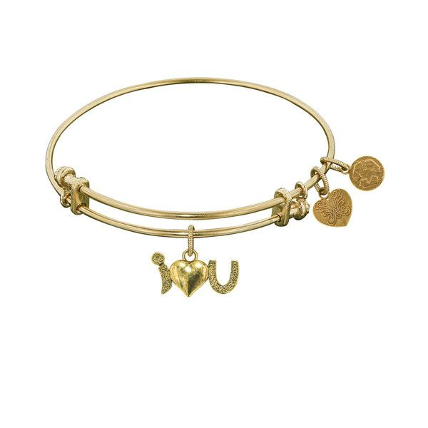 Non-Antique  Stipple Finish Brass I-Heart-U Angelica Bangle, 7.25 Inches Adjustable - JewelryAffairs  - 1