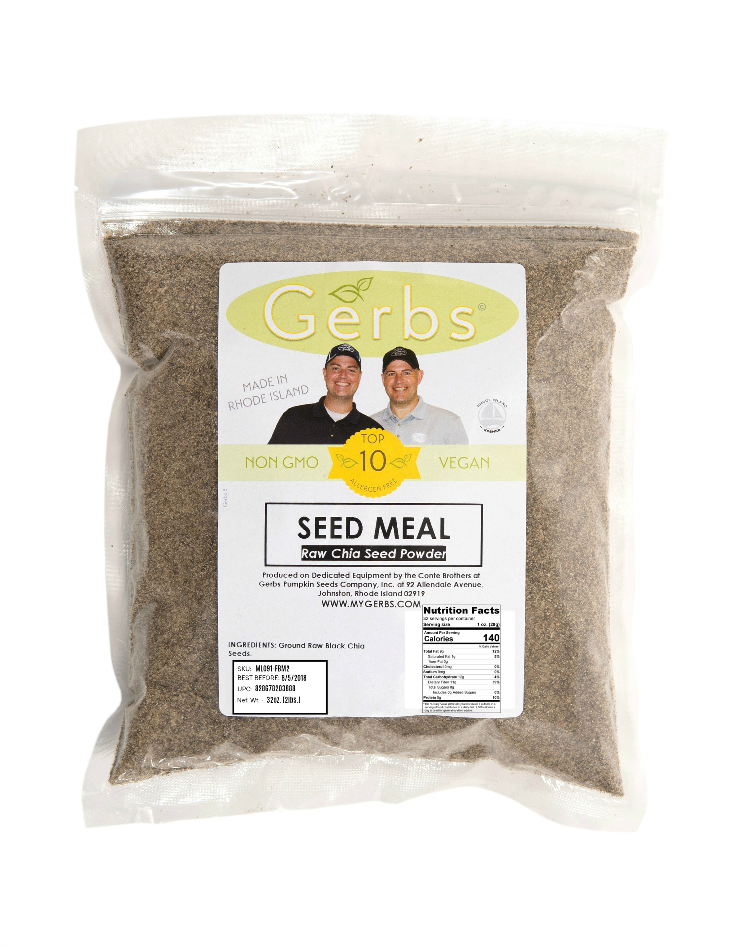 Ground Raw Chia Seed Meal By Gerbs - 2 LBS - Top 14 Food