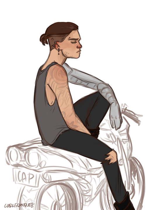 cargsdoodles: super quick doodle of punk!bucky on steve's motorcycle