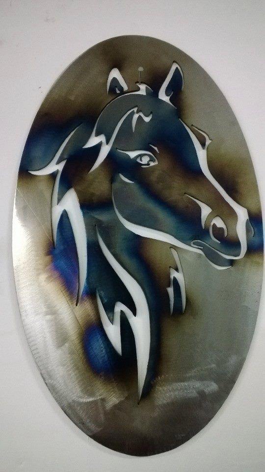 Metal Horse Wall Art oval horse head metal wall artkenscustomfab on etsy, $35.00