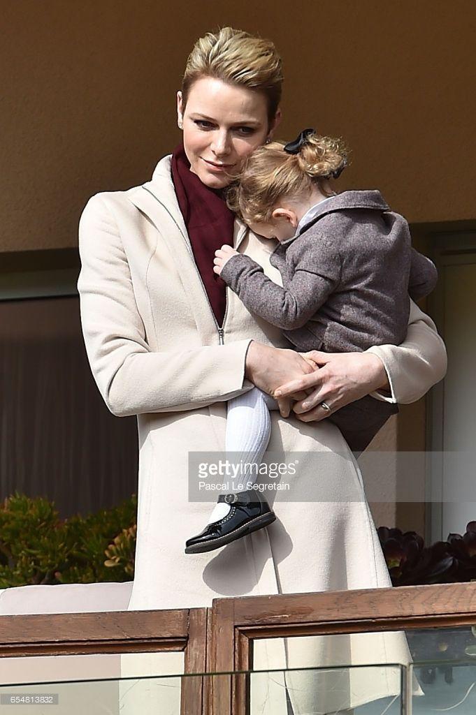 Princess Charlene of Monaco and Princess Gabriella of Monaco attend the Sainte Devote Rugby Tournament on March 18, 2017 in Monte-Carlo, Monaco.