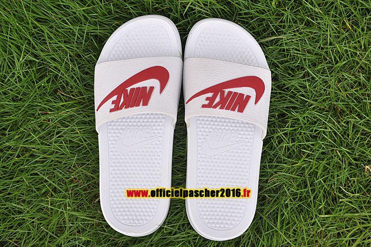 Officiel Nike Benassi JDI QS Nike sandales Pas Cher Pour Homme Blanc - Rouge