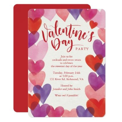 Romantic Hearts Valentines Day Party Card | Romantic