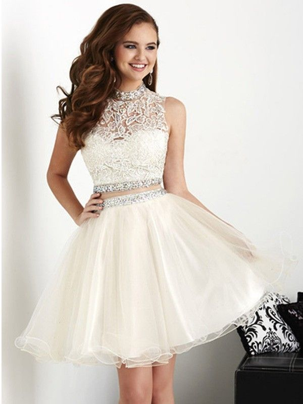 A-Line Princess High Neck Sleeveless Crystal Short Mini Organza Dresses 572b54e3d