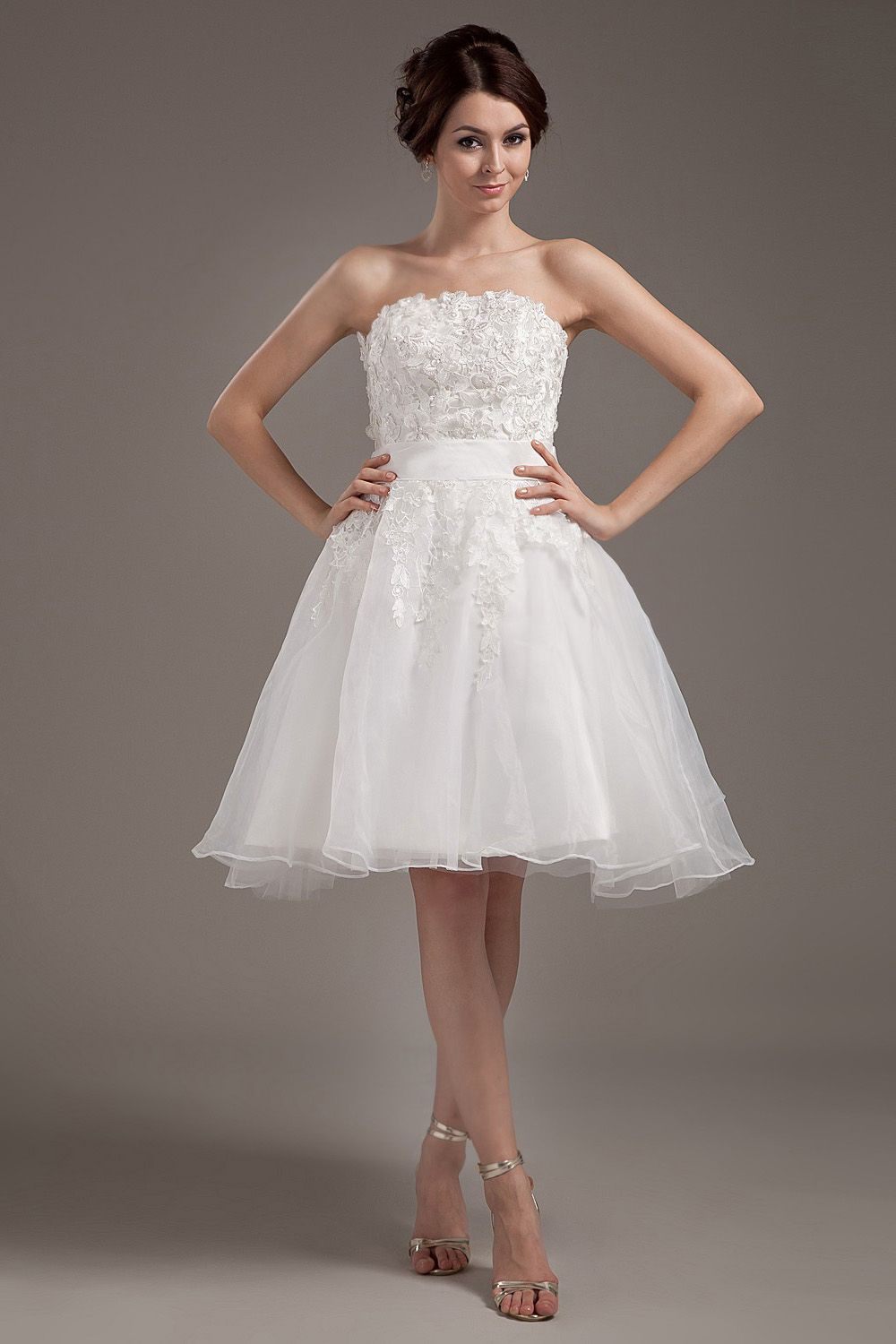 Lace dresses for wedding reception  ALine White Organza KneeLength Strapless Wedding Dress  Vestidos