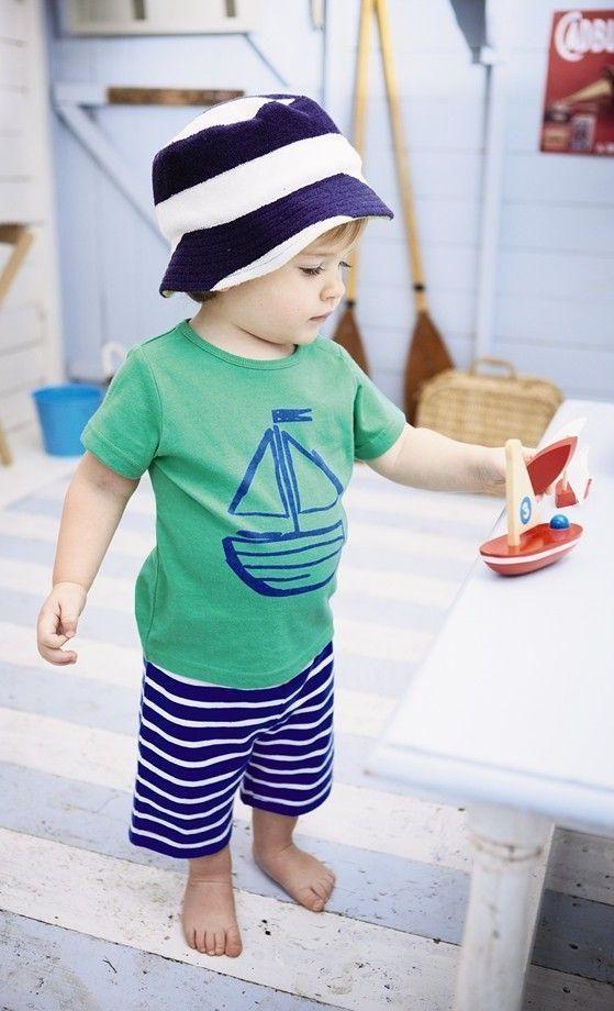 Mini Boden Logo T-Shirt & Crop Pants (Baby Boys ...