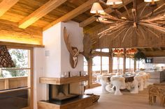 Modern ski chalet with beautiful rustic interiors