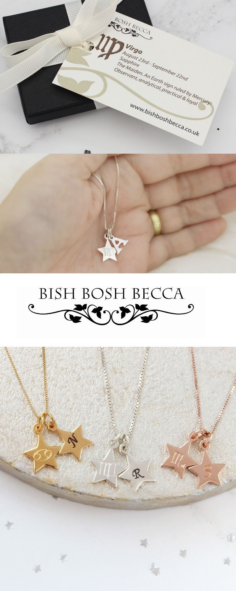 Featuring A Delightful Duo Of Star Shaped Charms The Zodiac Star Personalised Charm Personalized Charm Necklace Birthstone Charm Necklace Star Charm Necklace