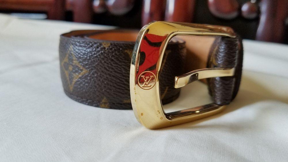 Authentic LOUIS VUITTON Monogram Men's Belt CT1008 France