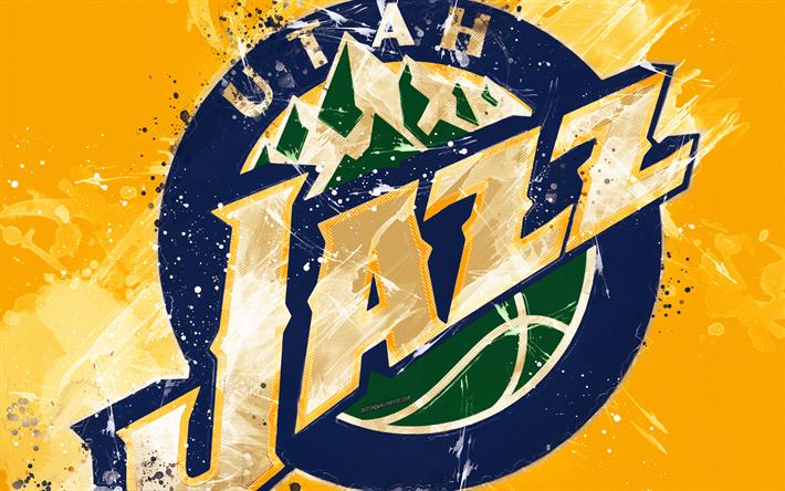 Download Wallpapers Utah Jazz 4k Grunge Art Logo American Basketball Club Yellow Grunge Background Paint Splashes Nba Emblem Salt Lake City Utah Usa Utah Jazz Jazz Basketball National Basketball Association