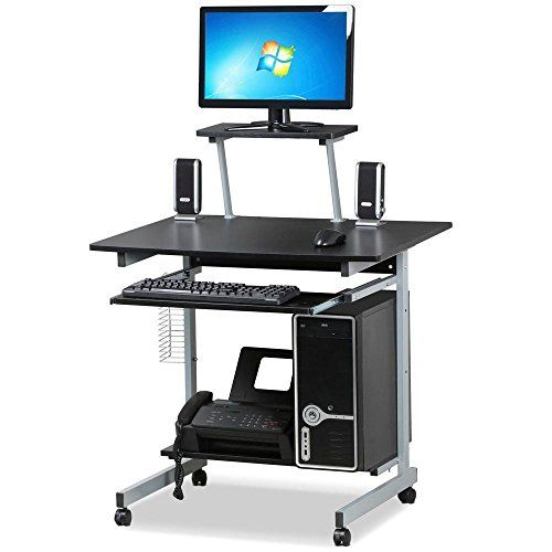 Yaheetech Mobile Computer Desks With Keyboard Tray Printer Shelf And  Monitor Stand Small Space Home Office