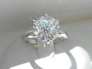 Qvc Diamonique Nwt 100 Facet 3 00 Carat Solitaire Ring Size 7 Bling Rings Ring Size Solitaire Ring