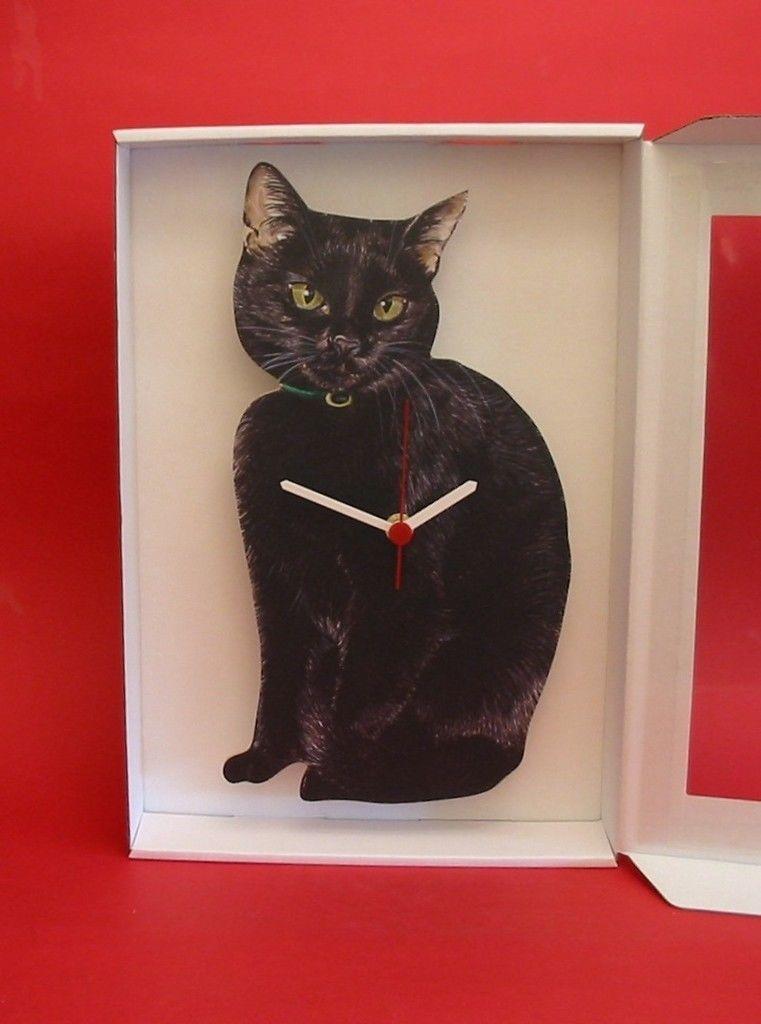 NEW Black Cat Wooden Wall Clock Cats Pet Good Luck Gift