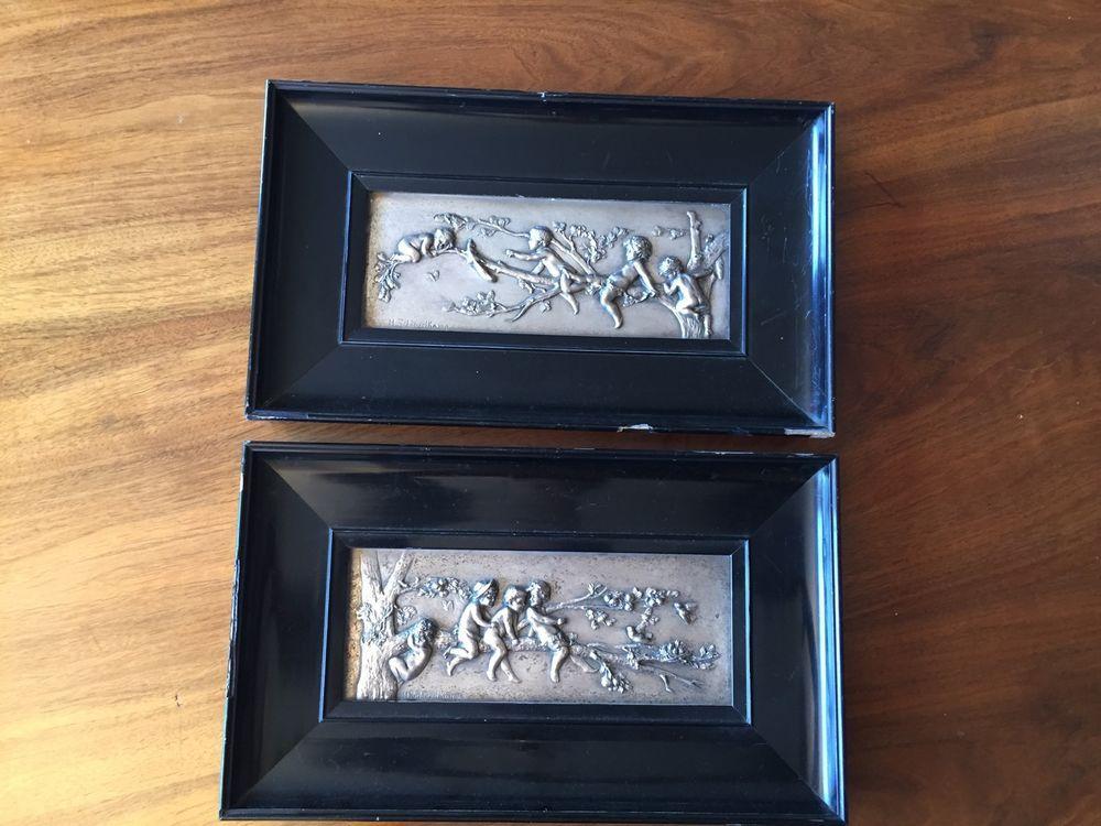 2 Bilder Schievelkamp Berlin um 1890 - Versilbert Bronze/Galvanoplastik