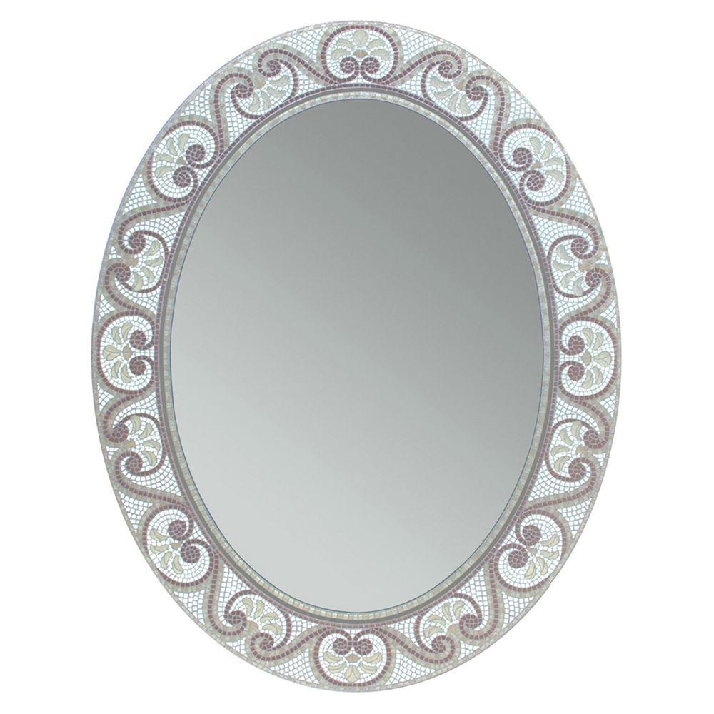 Deco Mirror 23 In X 29 In Earthtone Mosaic Oval Mirror 1128