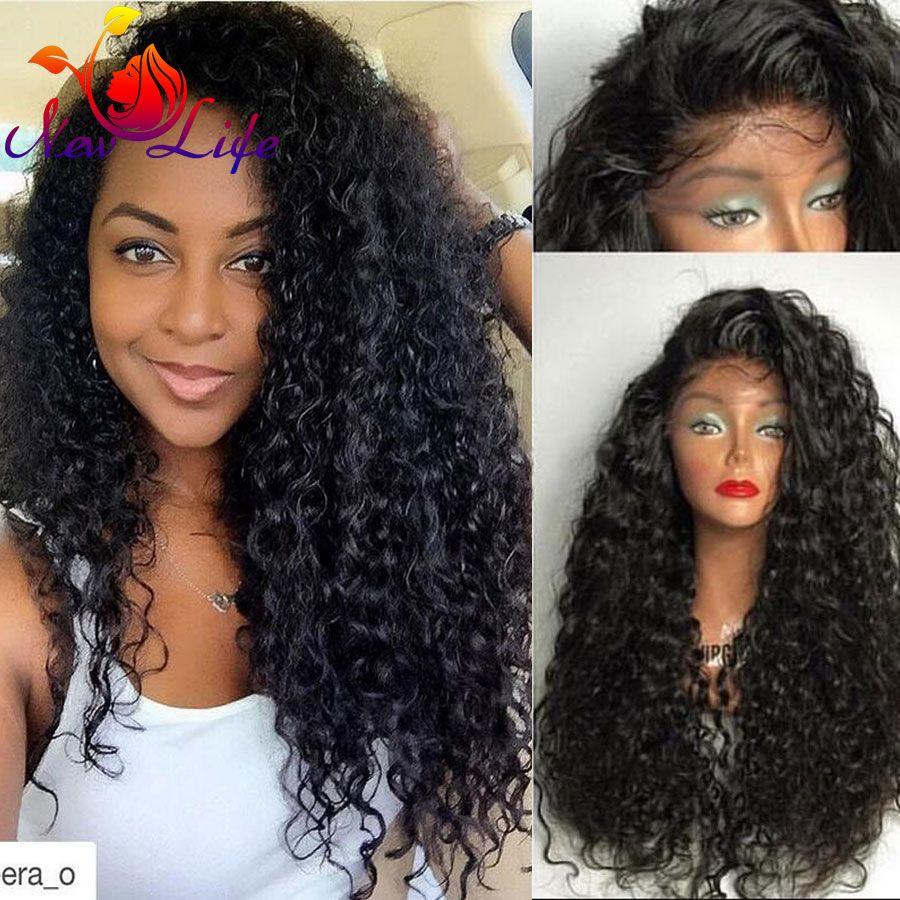 Fibra japonesa a prueba de Calor Largo Rizado Negro Del Frente Del Cordón Sintético pelucas Afro Rizada Rizada Del Frente Del Cordón Sintético Negro y Marrón peluca