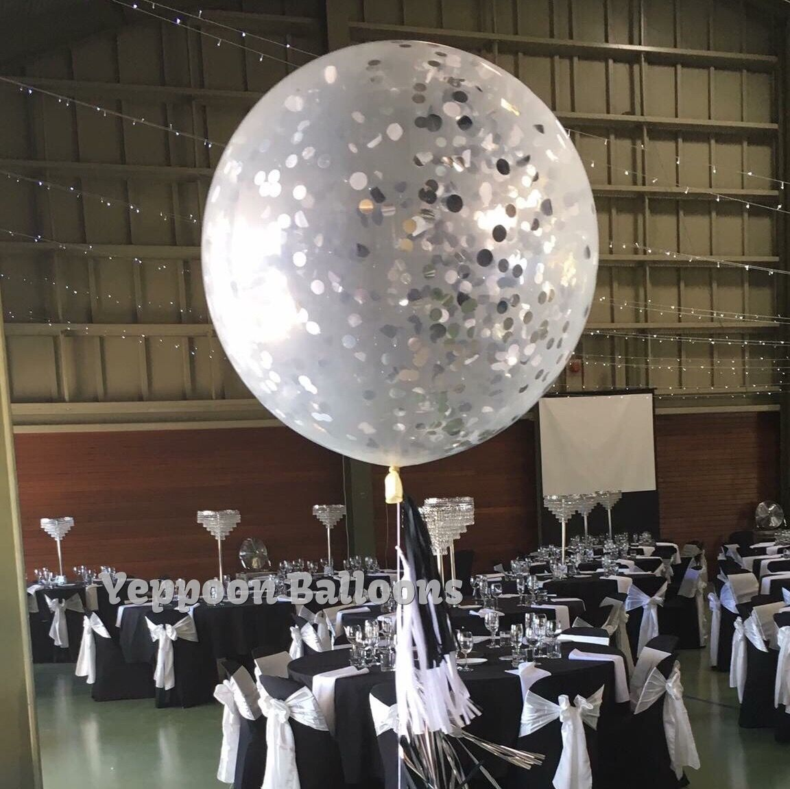 3 Clear Balloon With Black White And Silver Confetti And Tassels