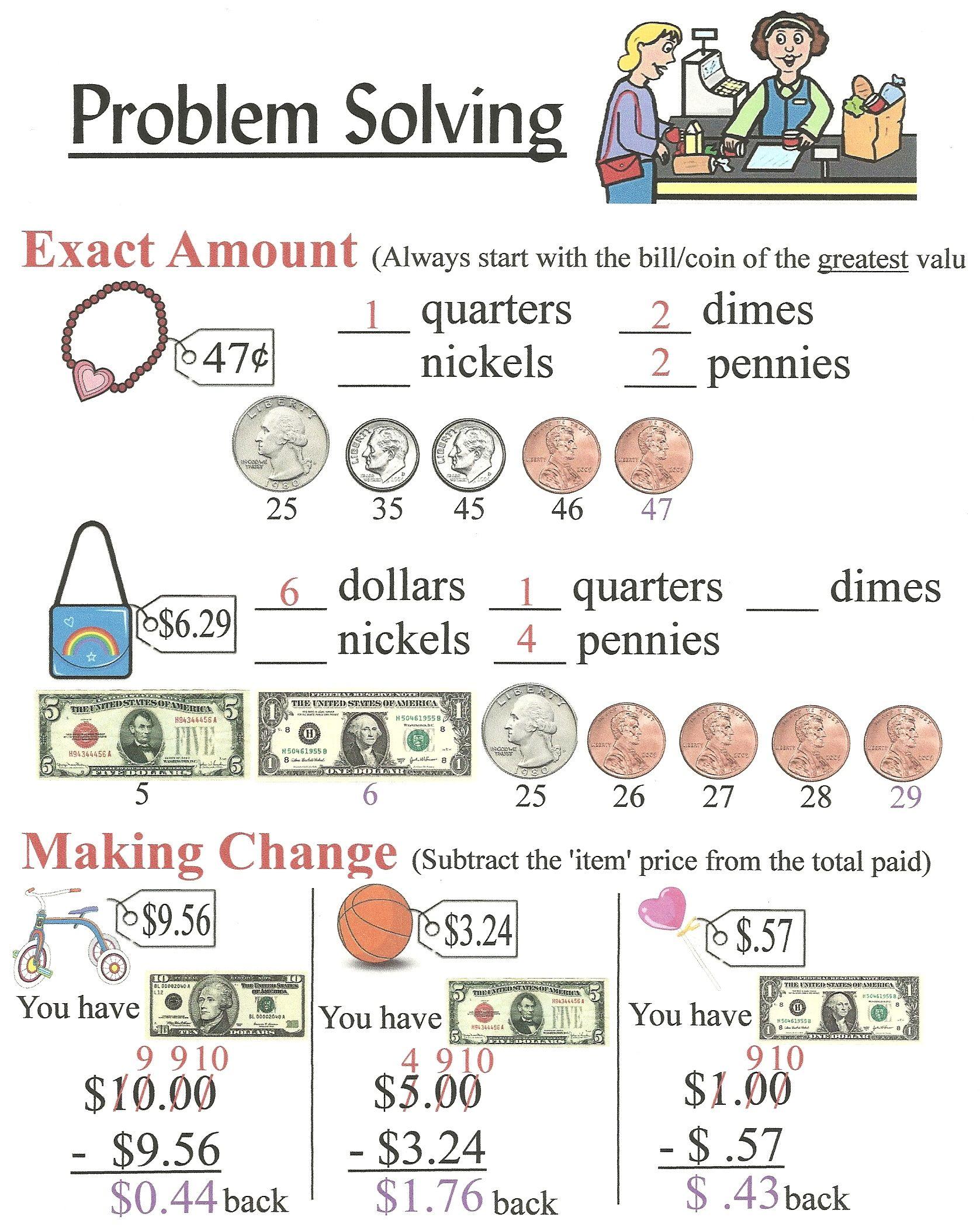 money problem solving for kids