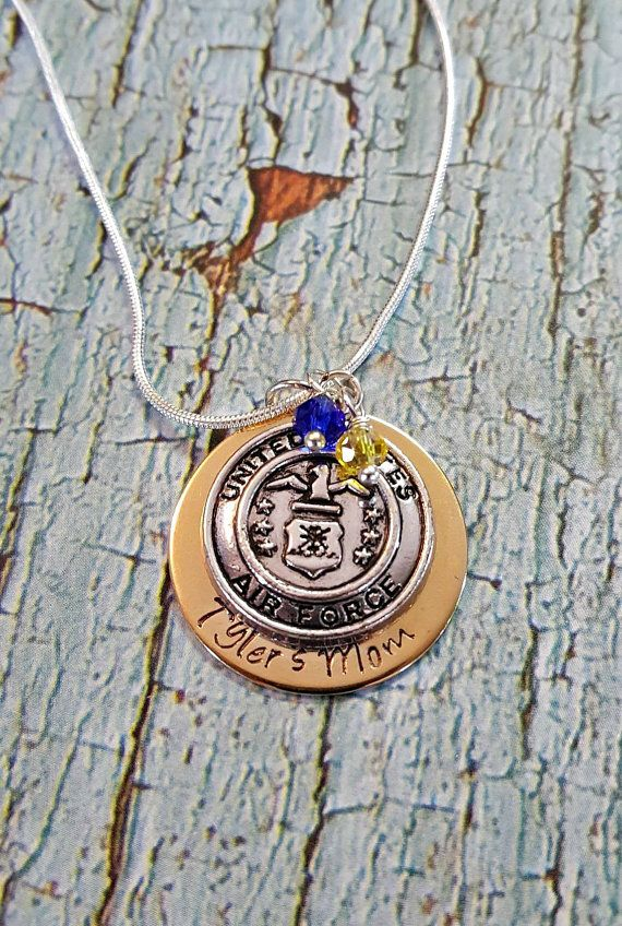 Air Force Mom Necklace  Personalized Military by MissGawdysJewelry