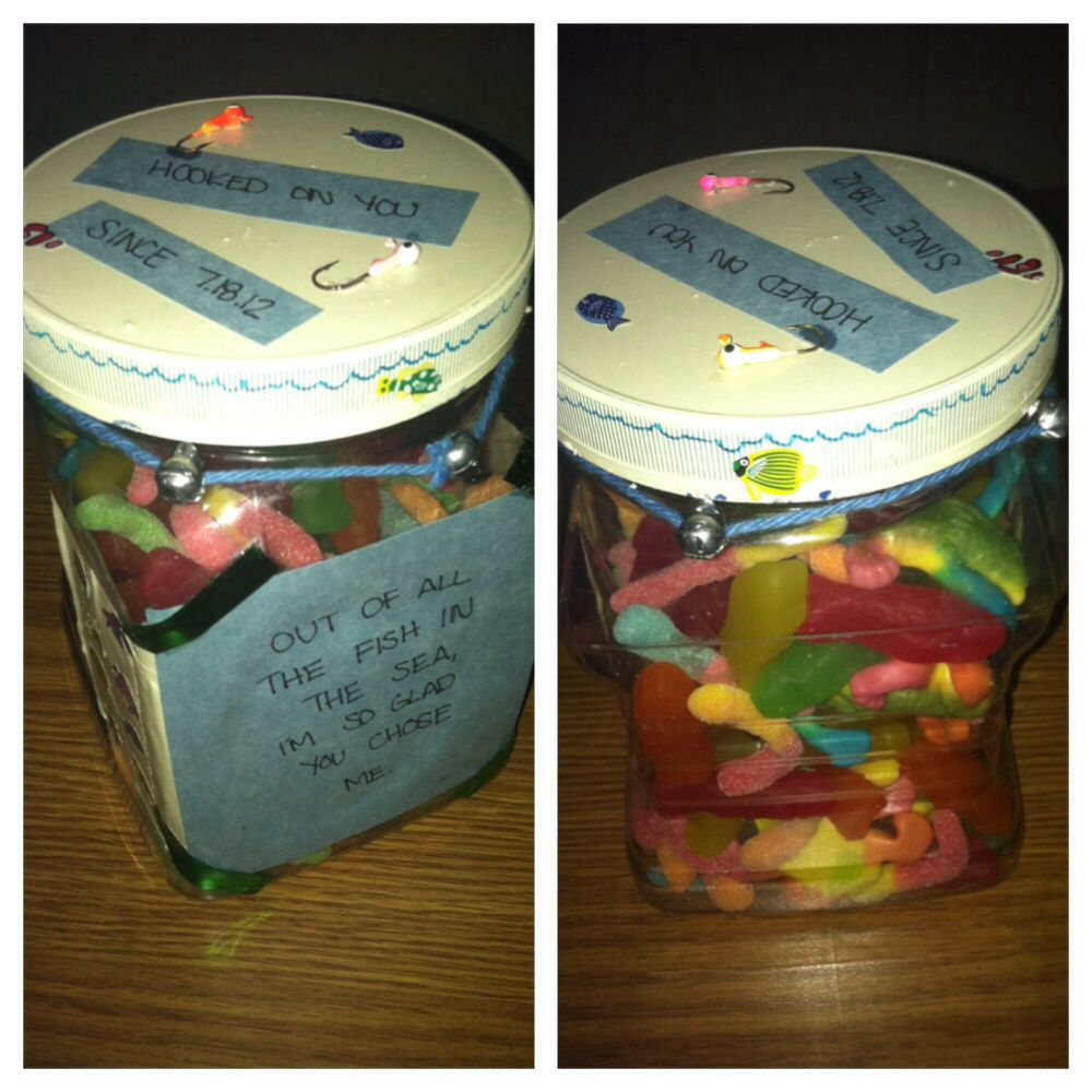 Just find a jar fill it with gummy worms fish and i for Gifts for your boyfriend just because