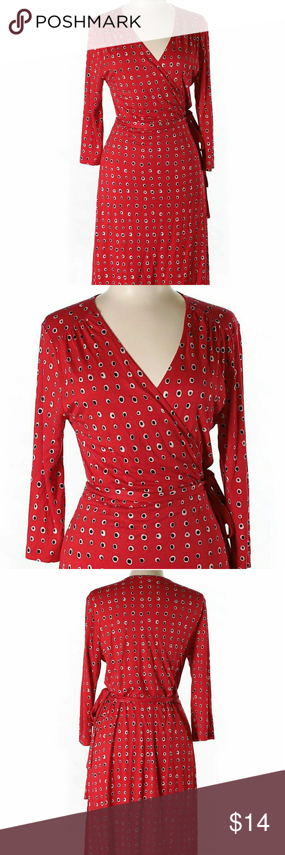 Crazy polka dot wraparound dress red with black and white dots pint