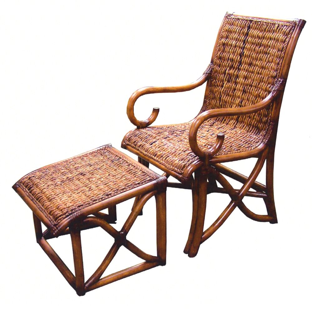 Hemingway rattan and wicker chair and ottoman set model